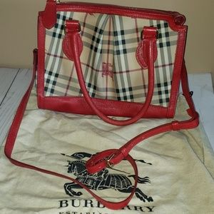 Burberry purse with red trim